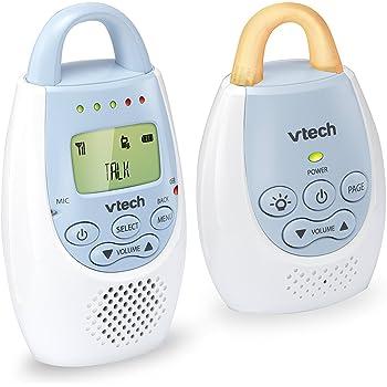 VTech BA72211BL Blue Audio Baby Monitor with up to 1,000 ft of Range, Vibrating Sound-Alert, Talk Back Intercom & Night Light Loop