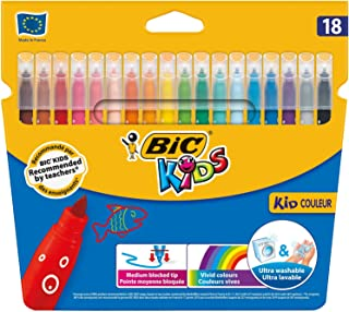 BIC Kids Kid Couleur Felt Tip Colouring Pens Medium Point - Assorted Colours, Pack of 18