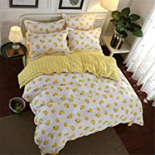Duvet Cover Microfiber Four-Piece Home Textile Spring and Summer Student Dormitory Bedroom Fruit Lemon (White Yellow 200 *...