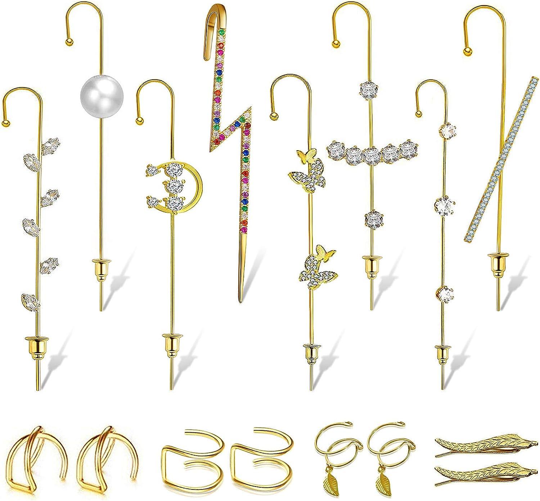 16 Pieces Ear Wrap Crawler Hook Earrings Hypoallergenic Crystal Butterfly EarCuffs Crawler Hook Earrings Ear Cuff for Woman Girls