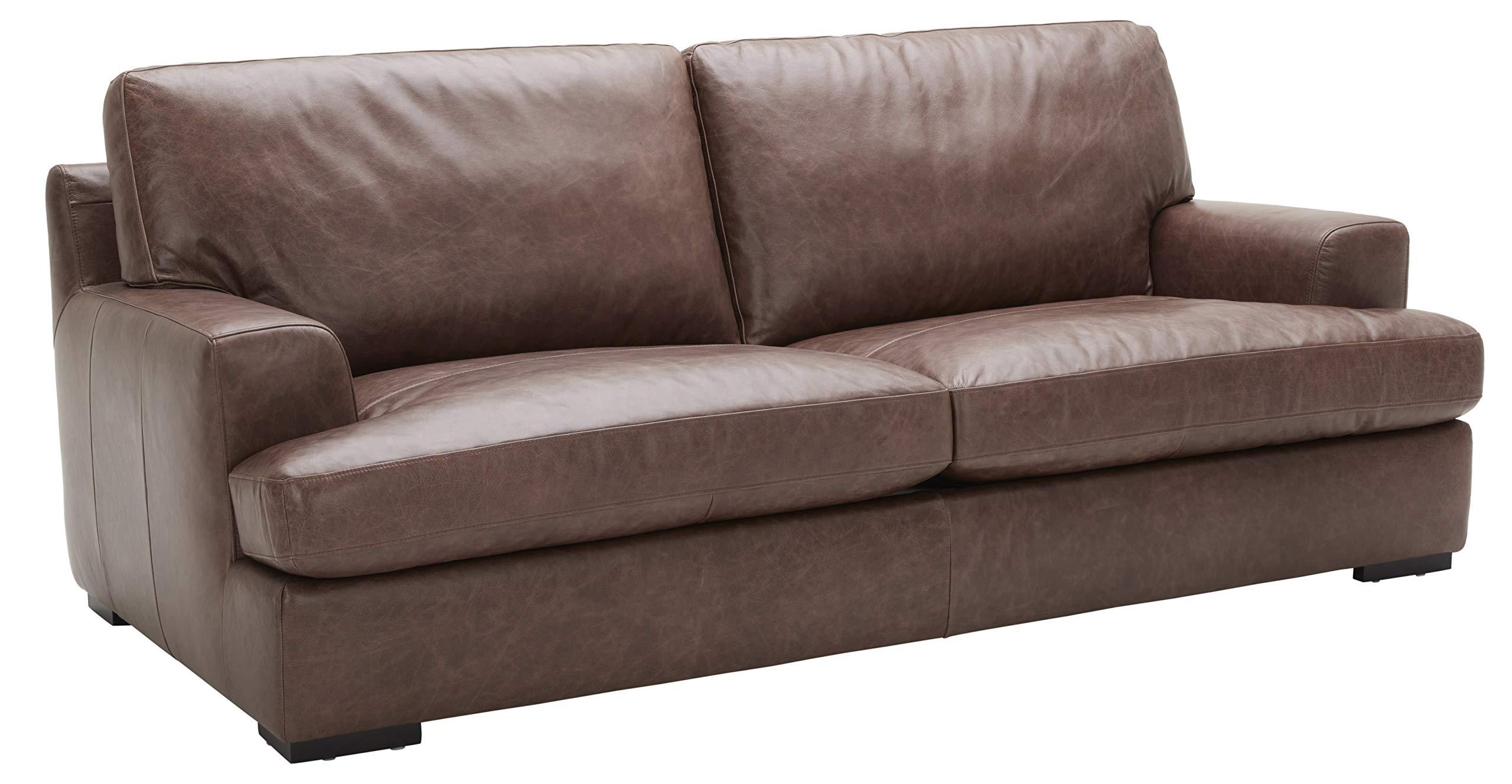 "Amazon Brand – Stone & Beam Lauren Genuine Leather Down-Filled Oversized Sofa Couch, 89""W, Dark Brown"