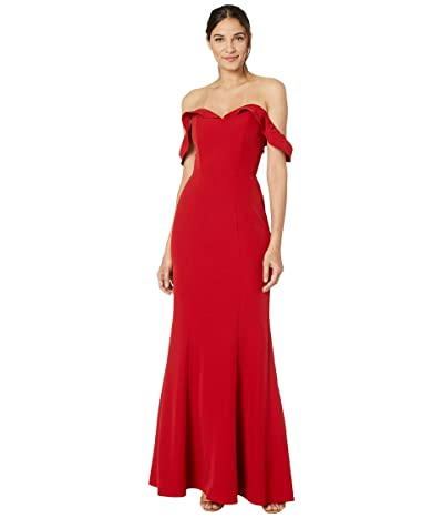 WAYF The Lisa Strapless Trumpet Lace-Up Back Gown (Red) Women