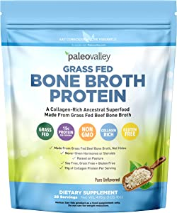 Paleovalley: 100% Grass Fed Bone Broth Protein Powder - Rich in Collagen Peptides for Hair, Skin, Bone, Joint and Gut Health - 28 Servings - 15g Protein Per Serving - No Gluten or GMOs - Keto