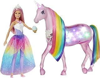Barbie, Dreamtopia Jednorożec Magia Świateł Z Tęczową Grzywą, Światłami I Dźwiękami I Lalka Księżniczka Barbie Z Różowymi ...