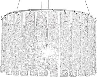Lampadario in vetro Veneziano bianco e trasparente