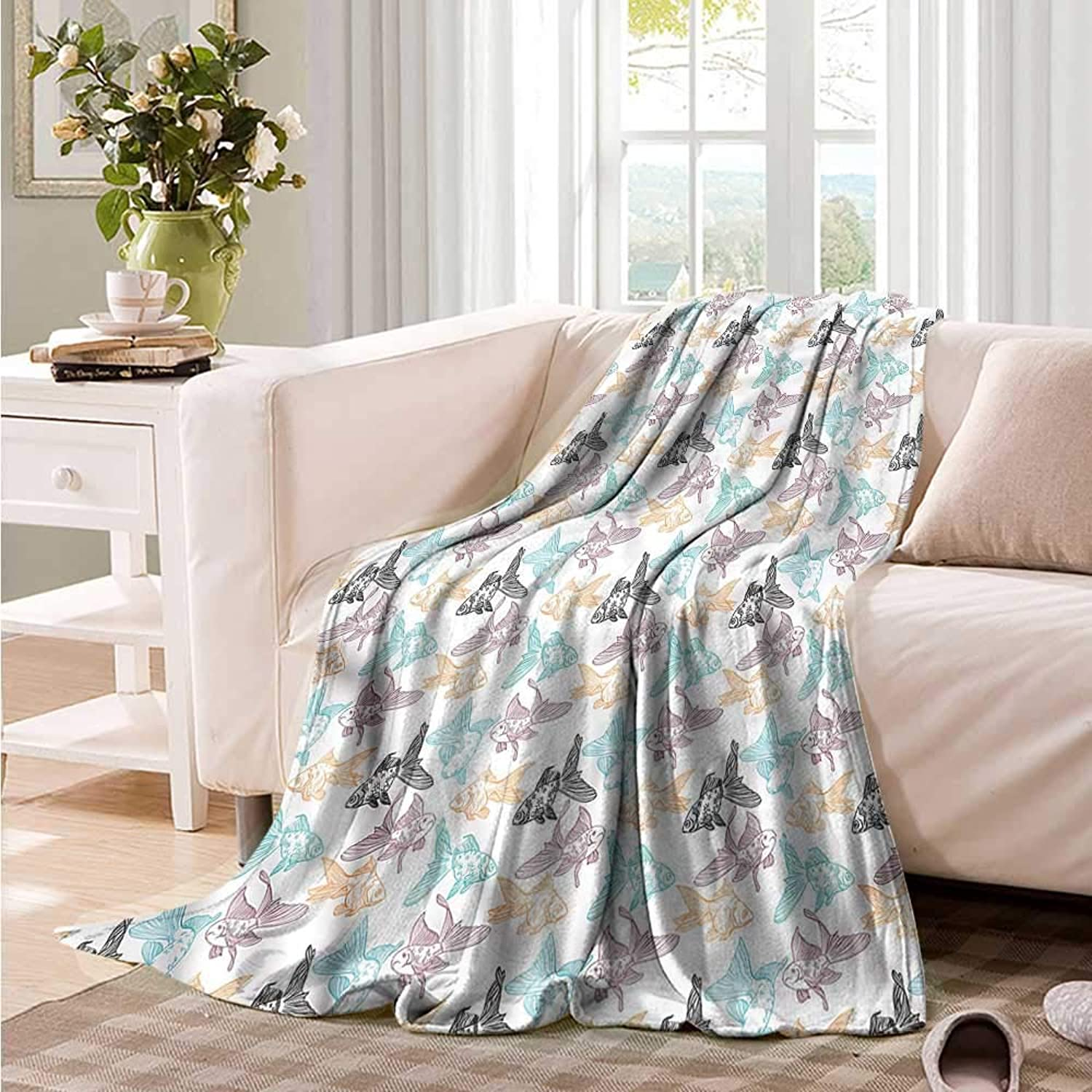 Perch and goldfish Aquarium Blanket Knee Oncegod Outline