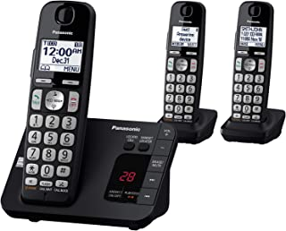 PANASONIC DECT 6.0 Expandable Cordless Phone System with Answering Machine and Call Blocking - 3 Handsets - KX-TGE433B (Black)