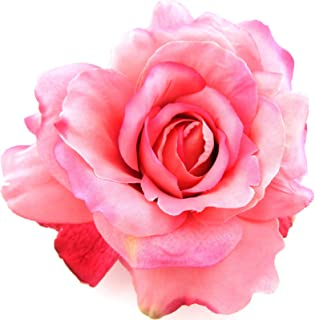 5 Variegated Pink Rose Silk Flower Brooch Pin with Locking Bale