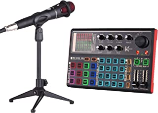 Adaskala K300 Live Sound Card External Voice Changer Audio Mixer Kit Built-in Rechargeable Battery Multiple Sound Effects ...