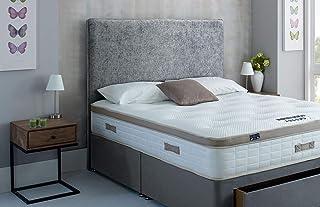 Base de lit en chenille, tête de lit sur pied et matelas à ressorts à mémoire de forme Royal (1,8 m Super King – 4 tiroir...