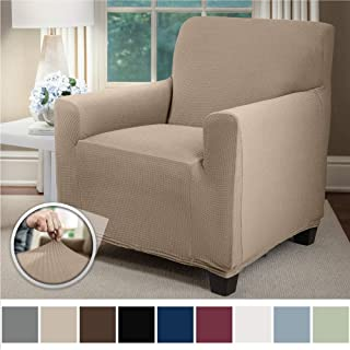 Sofa Shield Original Fitted 1 Piece Chair Protector, Seat Width up to 23 Inch, Stretch Furniture Slipcover, Fastener Straps, Spandex Chair Slip Cover Throw for Pets, Dogs, Armchair, Beige