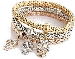 3pcs Charm Women Bracelet Gold Silver Rose Gold Rhinestone Bangle Jewelry Set