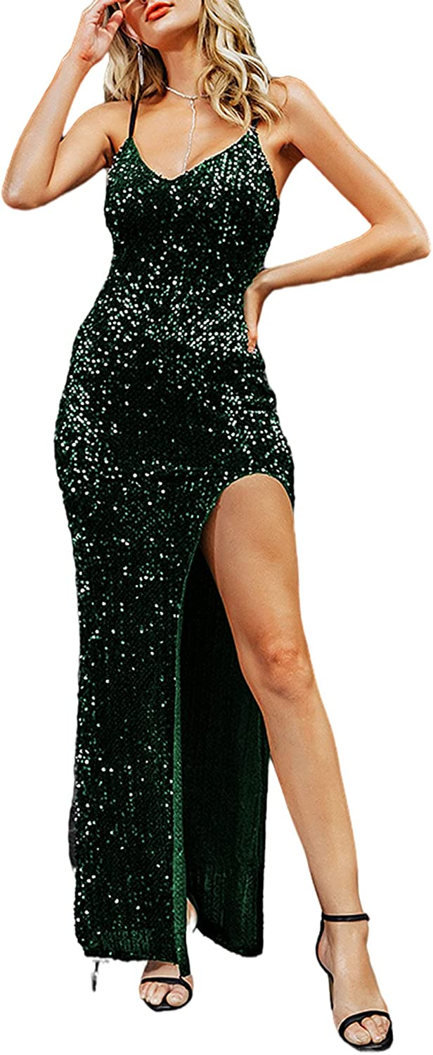 BerryGo Women's Sexy V Max 58% OFF Super sale Neck Bodycon Sequin Evening wi Dress Gown