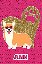Corgi Life Ann: College Ruled Composition Book Diary Lined Journal Pink