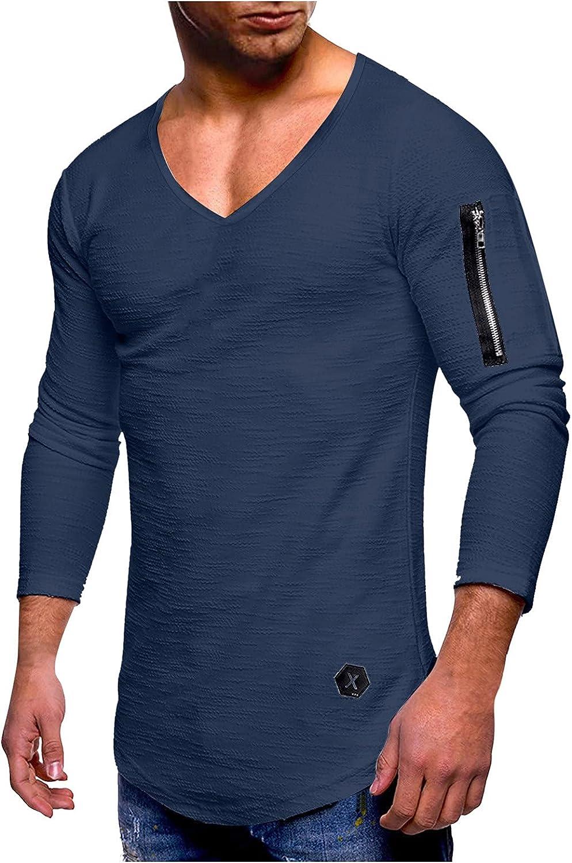 Men's Long-Sleeved Shirts Oversize T-Shirt Plain V-Neck Basic T-Shirt Sweatshirt Pullover Slim Fit Tee Henley Shirts