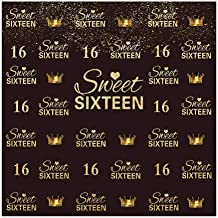 Allenjoy 6x6ft Girls' Glitter Gold Crown Sweet 16 Backdrop Golden Dot Sweet 16 16th Step and Repeat Photography Backdrop Happy Birthday Background Party Banner Supplies Decoration Photo Studio Props