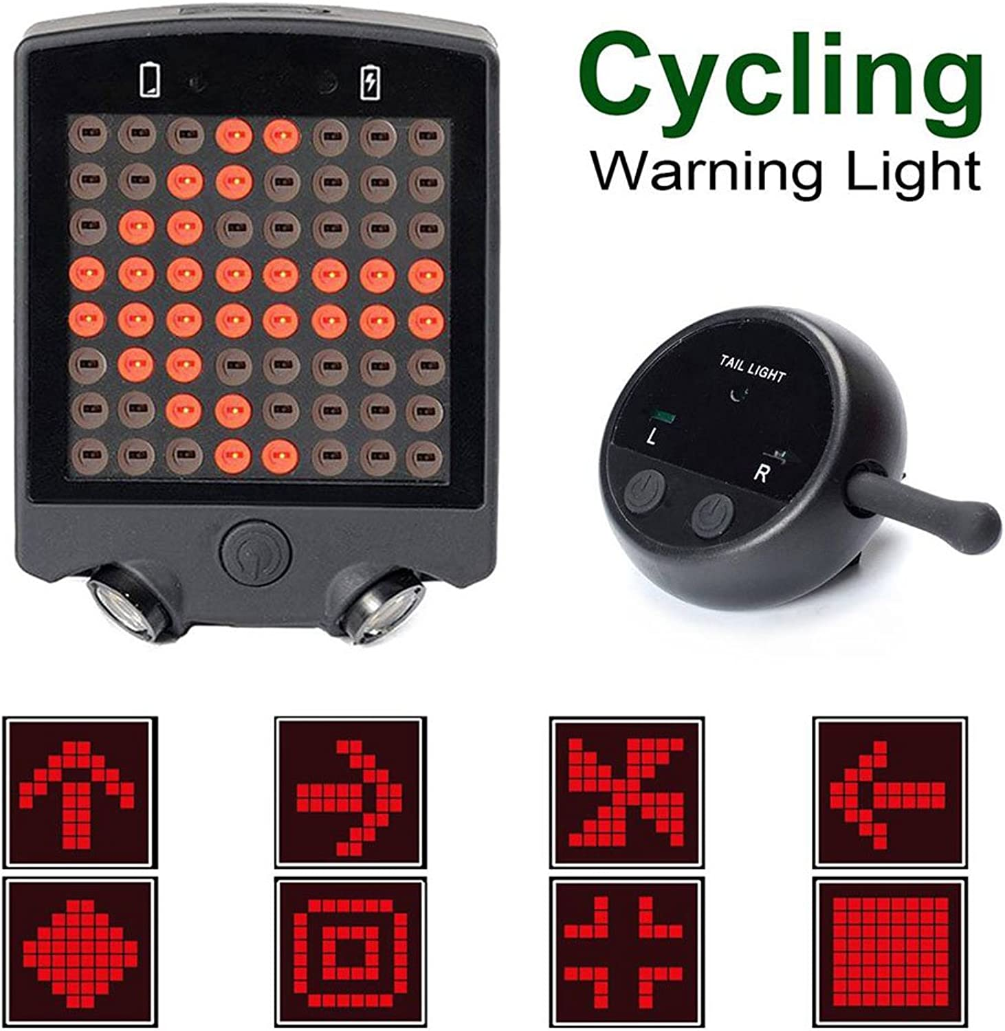 Gazelle Trading Bicycle Turn Signals Waterproof Remote Control Wireless RechargeableTail Light 64 LED Bike Rear Tail Red Laser Light Safety Warning Line Easy to Install