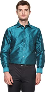 Khoday Williams Men Poly Silk Plain Solid Long Sleeve Regular Fit Casual Formal Shirt Turquoise
