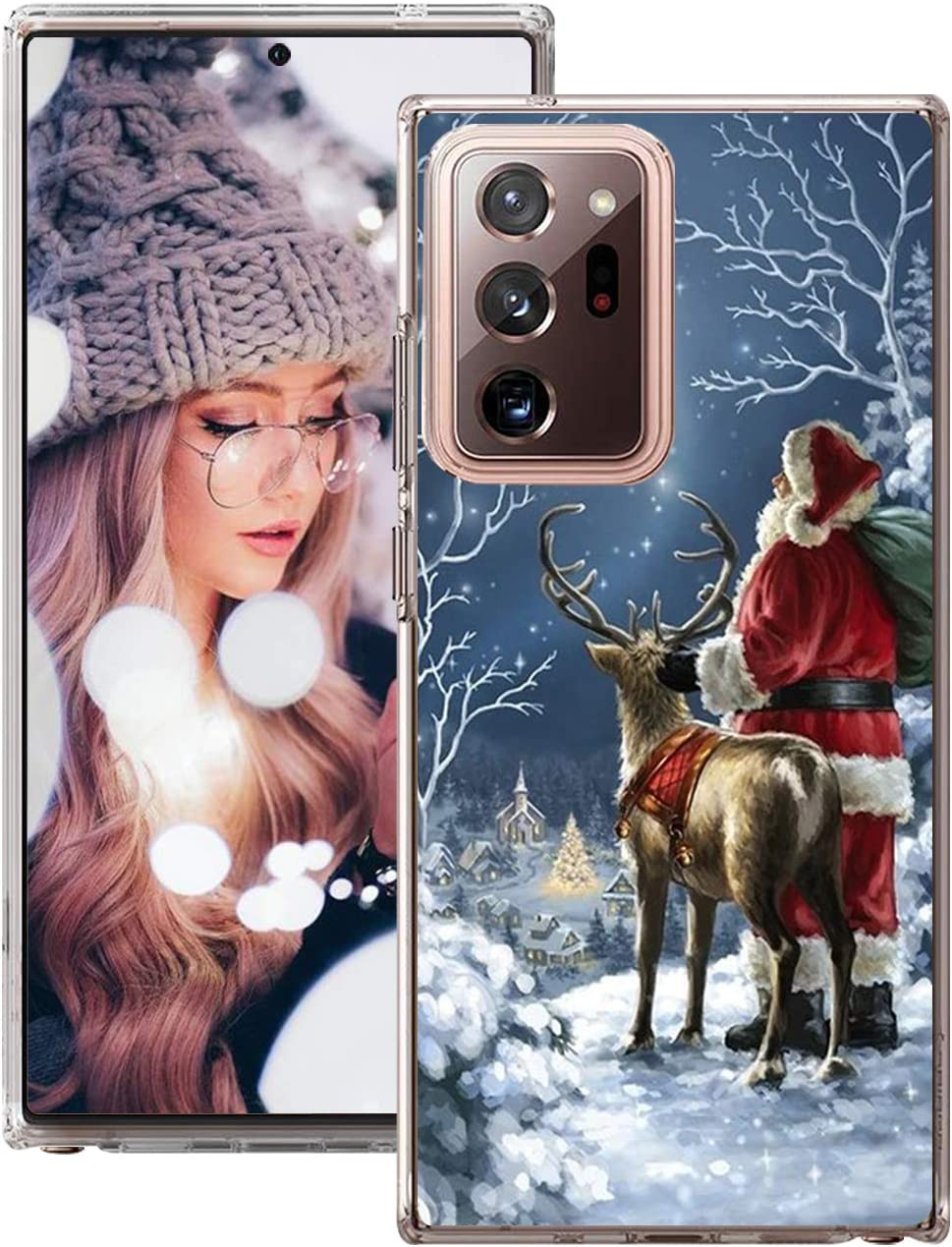 Qissy for Samsung Galaxy Note 20 Ultra 5G Case Cover Slim Clear Silicone Gel Christmas Tree Snowflake Santa Claus Gift Cases Shockproof Protective Cover for Samsung Note 20 Ultra 5G Cell Phone Case