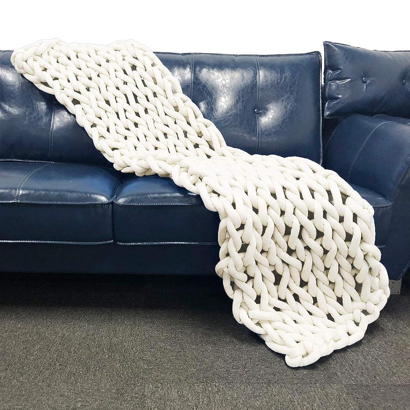 OSVINO ベッドライナー ベッドスロー 手編み 柔らかな肌触り 北欧風 年中通用 旅館 民泊 洗える 客間 自宅 インテリア 飾り, クリーム 50×180cm シングル