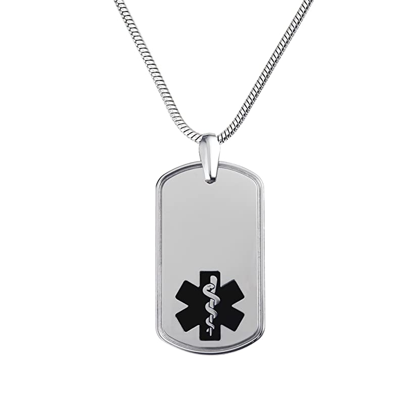 Divoti Deep Custom Laser Engraved Deluxe CP2 Pure Titanium Medical Alert Necklace -Dog Tag-24 Stainless Snake Chain