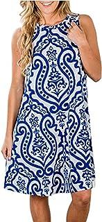 SimpleFun Women's Summer Sleeveless Bohemian Print Tunic Swing Loose Pockets T-Shirt Dress (L, Blue)