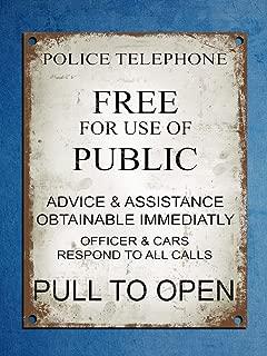 LHZJ Fashionable Metal Plaque Retro Vintage Style Police Phone Box Tardis Dr Who Wall Door Sign 8X12 inchs Metal tin Sign