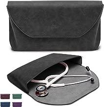 BJÖRN HALL Leather Stethoscope Case | Fits 3M Littmann Classic III, Lightweight II SE, Cardiology IV, MDF ADC Adscope | Designer PU Leather Carrying Case | Nurse & Doctor Accessorie Gift |Black Beauty
