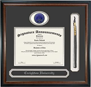Signature Announcements Creighton University (CU) Undergraduate and Graduate Graduation Diploma Frame with Sculpted Foil Seal, Name & Tassel (Matte Mahogany, 16 x 16)