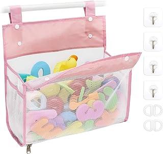 Bath Toy Organizer Multiple Ways to Hang, Extra Large Opening Bathroom Toy Holder, Bottom Zipper Bathtub Toy Storage Bag (...