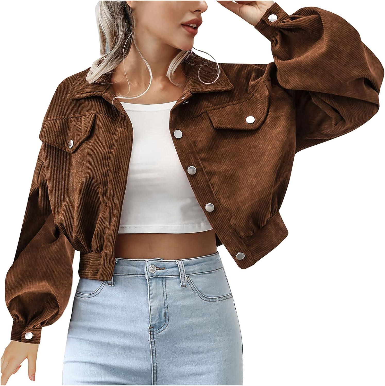 Max 44% OFF Fashion Corduroy NEW before selling Coat for Women Single Sleeve Brea Lapel Lantern