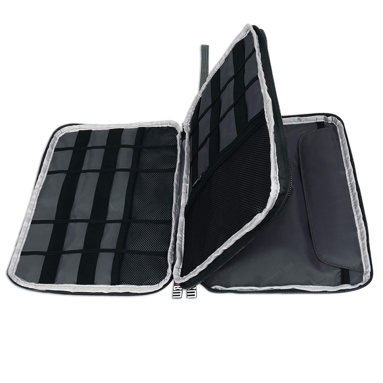 BUBM Organizador de Accesorios Eléctrica Estuche para Guardar Cables Memorias USB Bolsa con Cremallera para iPad Bolso de Doble Capas(L, Negro): Amazon.es: Electrónica
