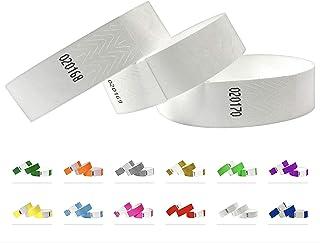 Bracelets d'identification Tyvek 19 mm, 1000 pièces, Bracelets événementiels (Blanc, 1000 Pack)