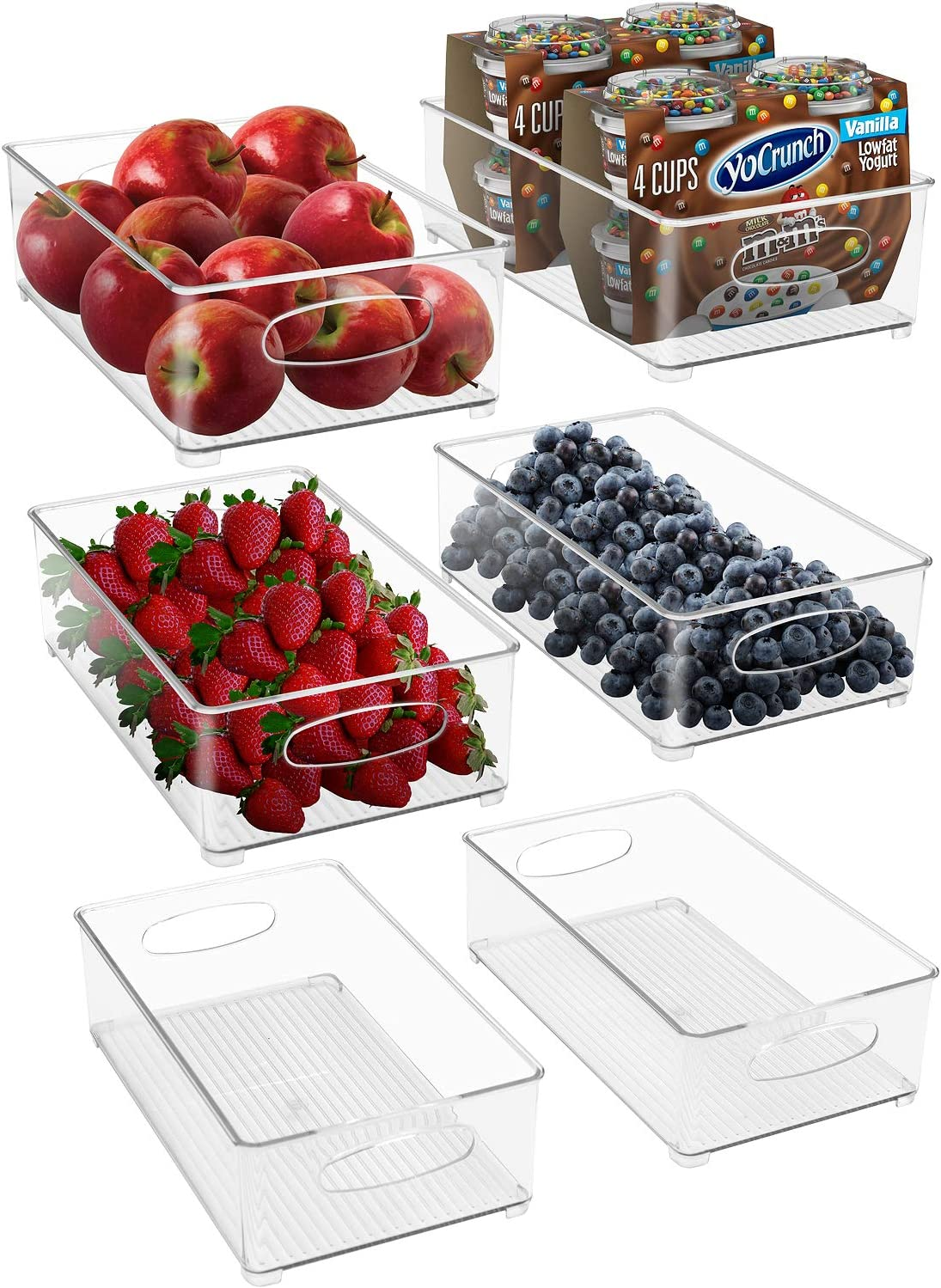 Sorbus Plastic Storage Bins Stackable Clear Pantry Organizer Box Bin Containers for Organizing Kitchen Fridge, Food, Snack Pantry Cabinet, Fruit, Vegetables, (Wide - Pack of 6)
