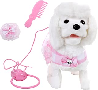 IQ Toys Walking and Barking Plush Poodle Dog Remote Control with Leash, and 3 Puppy Care Accessories