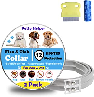 Flea Tick Collar for Dogs Cats(2Pack)-12 Months Continuous Protection(upgraded version)- No allergic & Waterproof & Adjust...