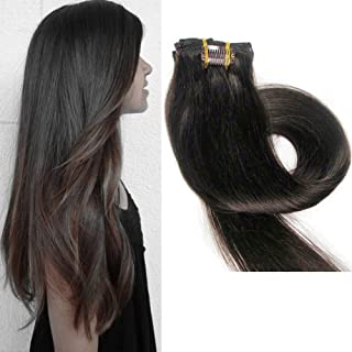 TheFashionWay Brazilian Human Hair Extensions Clip in Silky Straight Weft Remy Virgin Hair (20 inches, 2)
