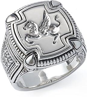 خاتم رجالي من الفضة الاسترلينية مربع بلون بيغاسوس من كونستانتينو