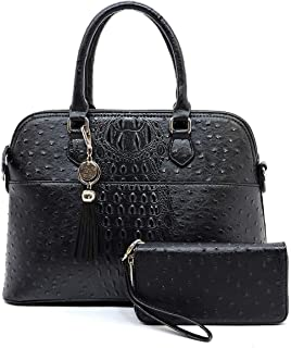 2-in-1 Vegan Faux Leather Ostrich Croco Dome Shape Satchel Purse with Detachable Tassels Charm and Matching Wallet