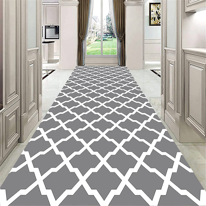 trend rank TONGQU Non Slip Runner Max 56% OFF Rug for Modern Hallway Geometric Tr Grey
