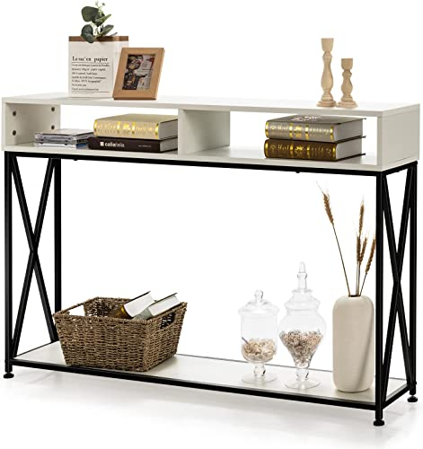 discount Giantex Console high quality Table 2 Tier Sofa Table with Open Shelf & Storage Compartments, Adjustable Feet, online sale Anti-Tipping Design, Compact Side Table for Living Room/Entryway/Hallway Narrow Entrance Table (White) outlet online sale