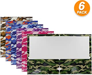 Emraw Camouflage 2 Pocket Portfolio Two Pockets Folder Legal Document Organizer Designed for Home, Office, School, Classroom, Medical Records and More - Actual Colors May Vary (Pack of 6)