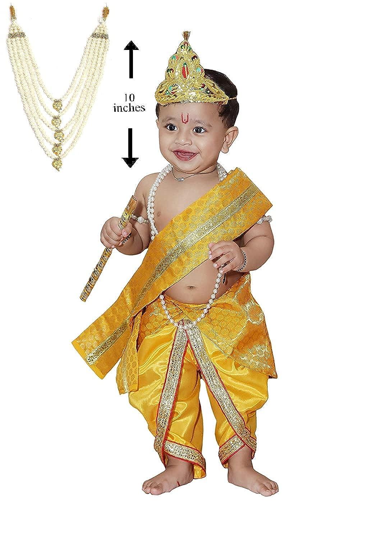 Raj Fancy Dresses Baby Krishna Brocade Fabric Janmashtami Mythological Character Costume 1