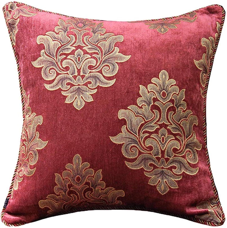 Pillow Sofa Pillow Cushion Cover European Court Car American Office Back Cushion Pillow QYSZYG (color   Red, Size   45cm45cm)