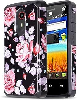 ZTE Ultra, N817, ZTE Uhura, ZTE Quest Heavy Duty Defender Shock Absorbent Dual Layer Hybrid Fashion Case for ZTE Ultra (N817) [Free Emoji Keychain!] (Lavender Rose)