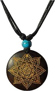 CHICNET - Collana da uomo e da donna, in legno, con ciondolo rotondo, in legno di sono, turchese, pietra incisa oro, argen...