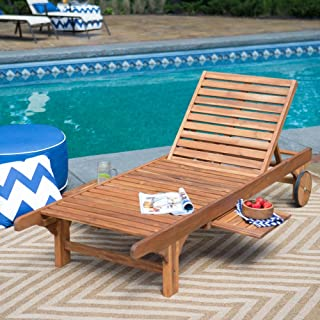 Coral Coast Bellora Acacia Chaise Lounger with Pullout Table