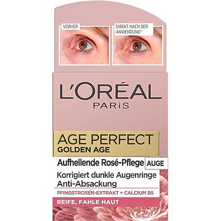 L'Oréal Paris Age Perfect Golden Age, crema antienvejecimiento, blanqueador y anticaída, para pieles maduras y sin acné, con extracto de peonía y calcio B5, 15 ml