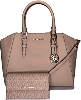 Michael Kors Ciara Large Satchel bundled with Jet Set Travel Trifold Wallet