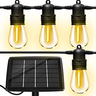 Solar Outdoor String Lights with 16pcs Shatterproof Bulbs,50Ft Vintage Edison Bulbs Commercial Grade Weatherproof Strand H...